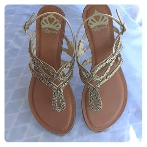 Dressy Gold Beaded Sparkle Sandals